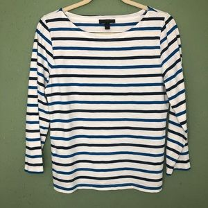 J. Crew Blue and White Striped Shirt Size Medium